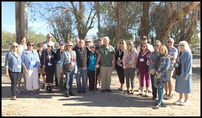 A large group of La Quinta Historical Society members gathered at an Indian Reservation